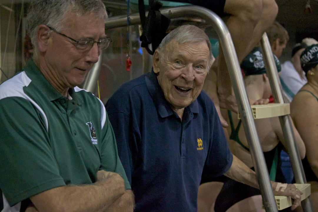 Dennis Stark moved the men's swimming and diving program to varsity status in 1958.
