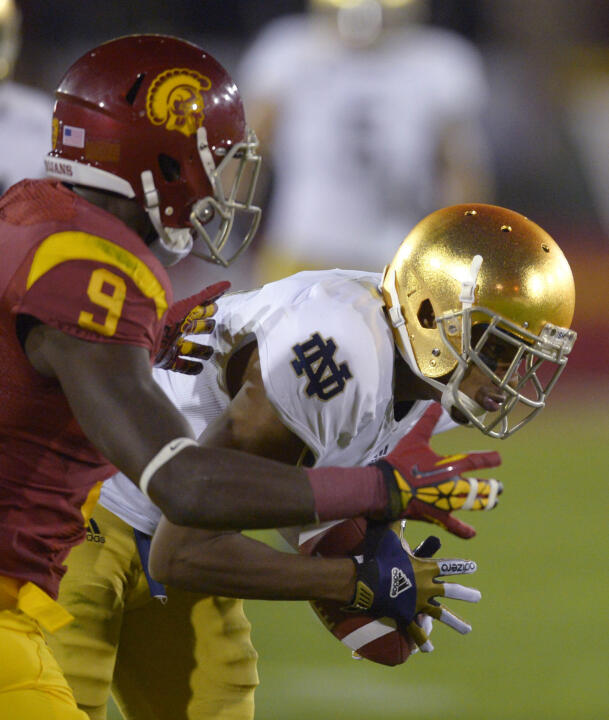Notre Dame CB KeiVarae Russell in action against rival USC