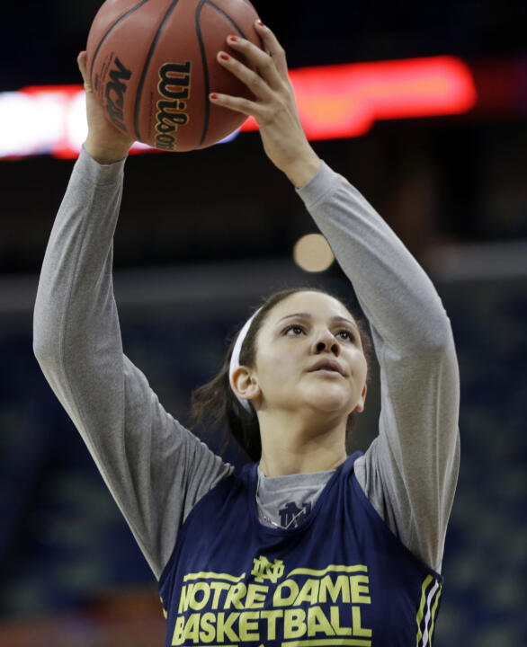 Notre Dame senior forward Natalie Achonwa (seen here during practice at last year's NCAA Women's Final Four in New Orleans) is one of four returning starters on this year's Fighting Irish squad, which held its first official practice of the 2013-14 campaign Tuesday morning at Purcell Pavilion.