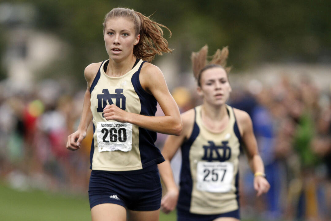 Senior Kelly Curran came in first in the women's varsity race at the 34th Annual National Catholic Championships.