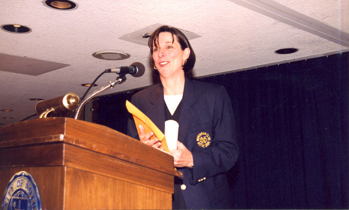 Notre Dame head volleyball coach Debbie Brown earned an honorary monogram at a ceremony in 1999.