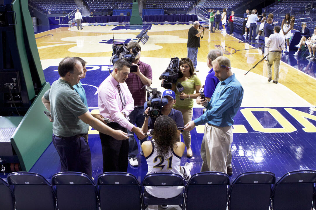 Notre Dame senior All-America guard Kayla McBride answers questions from South Bend-area media members during the team's annual Media Day on Tuesday afternoon at Purcell Pavilion.