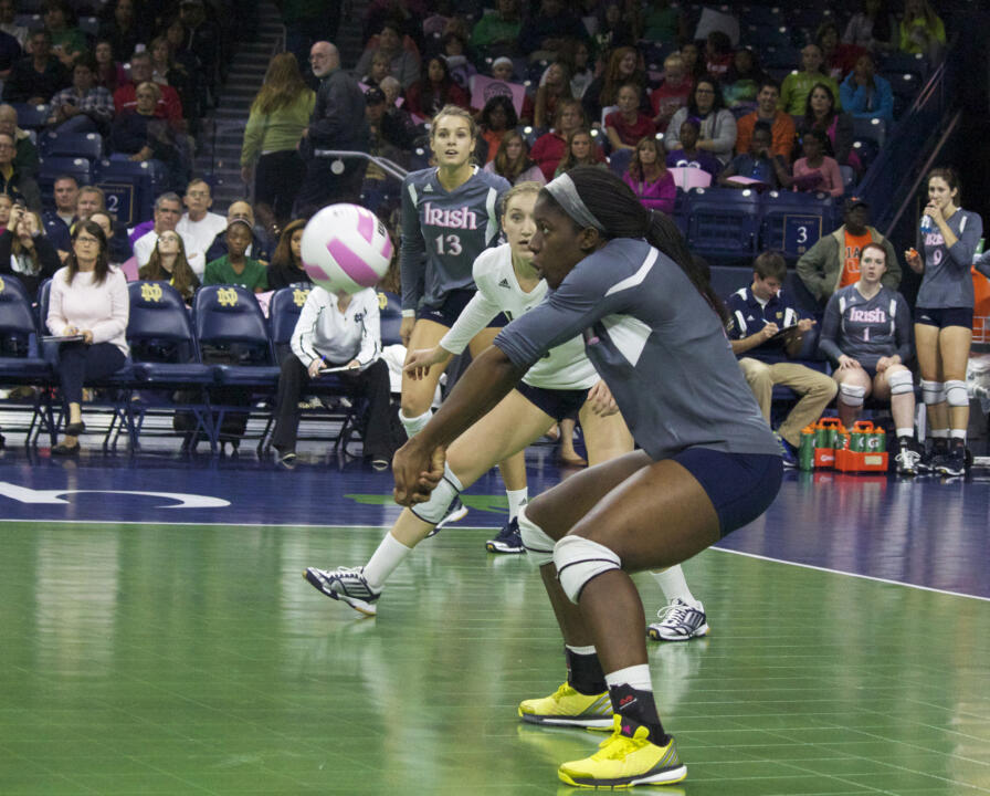 Junior Toni Alugbue tied for the team high with 11 kills and had a team-high 17 digs against Virginia Sunday.