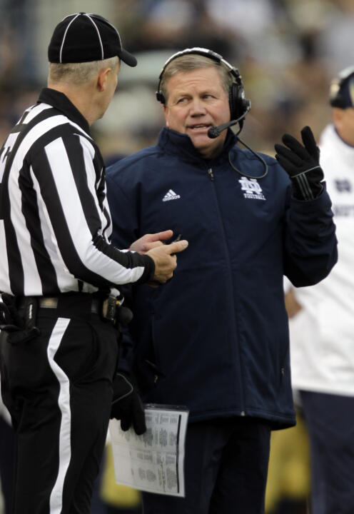 Head coach Brian Kelly at last year's game against Pittsburgh.