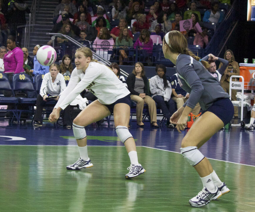 Senior Andrea McHugh made the move from outside hitter to libero for her final campaign with the Irish.