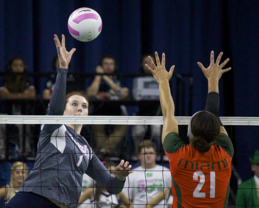Senior Andie Olsen had 12 kills and hit .409 for the night as the Irish bested Maryland, 3-1, Friday night.