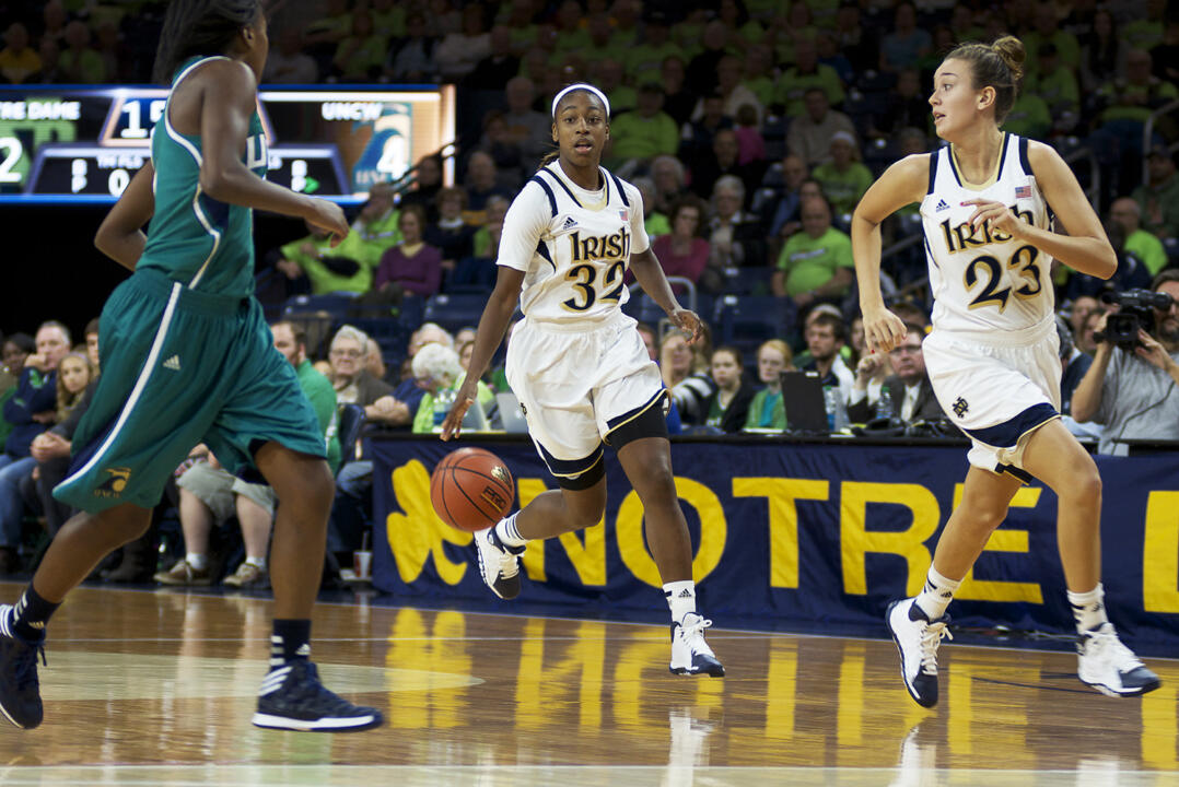 Sophomore guard Jewell Loyd recorded her second career double-double with 19 points and 11 rebounds, while adding a career-high three blocks as #6/7 Notre Dame defeated UNC Wilmington, 99-50 on Saturday in the season opener for both teams at Purcell Pavilion.