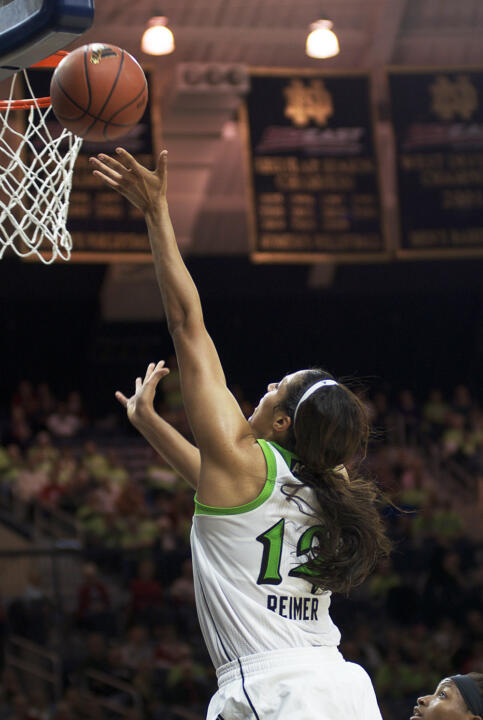 Freshman forward Taya Reimer collected her first career double-double with 19 points and a game-high 13 rebounds as #6/7 Notre Dame defeated #19/18 Michigan State, 81-62 on Monday night at Purcell Pavilion.