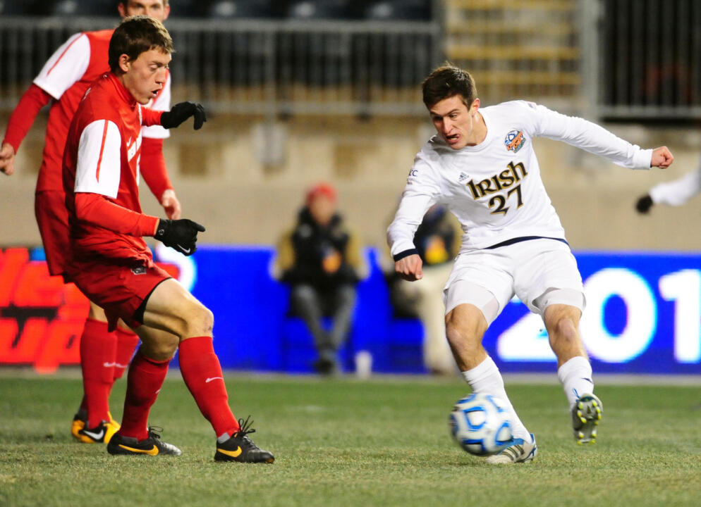 Midfielder Patrick Hodan scored both goals for the Irish in the semifinals on Friday.