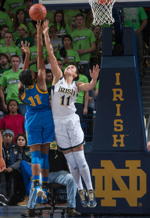 Senior forward/tri-captain Natalie Achonwa turned in a well-balanced effort Thursday at Pittsburgh with 14 points, seven rebounds, five assists and two blocks in just 21 minutes of a 109-66 Fighting Irish victory.