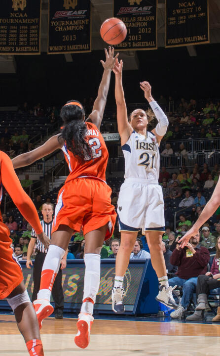 Notre Dame senior guard/tri-captain Kayla McBride (pictured) and former Fighting Irish All-American Skylar Diggins are among 33 players named to the 2014-16 USA Basketball Women's National Team pool, it was announced Monday.