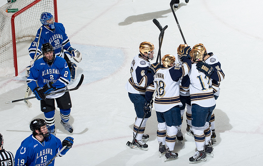 The Irish celebrate a goal versus Alabama Huntsville in the 7-1 win on Friday night.