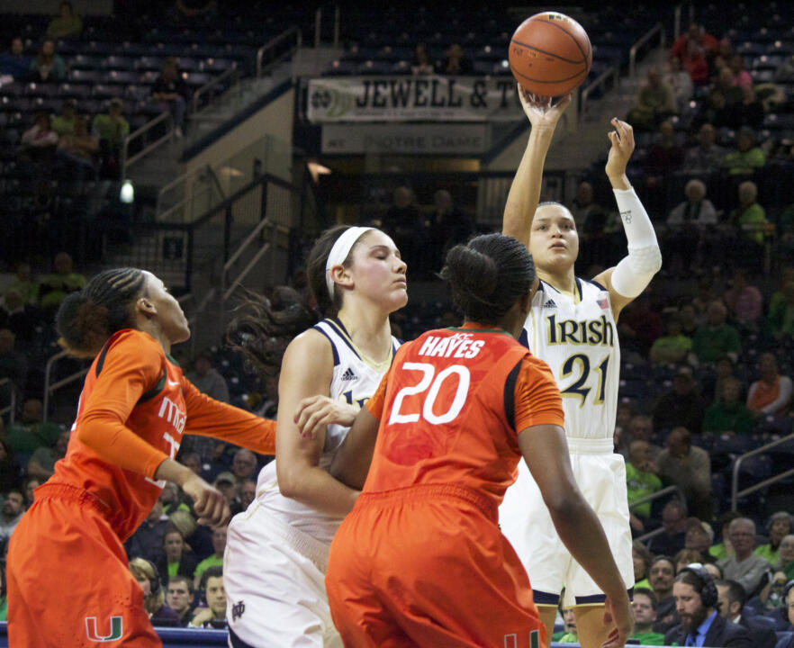 Senior guard/tri-capain Kayla McBride scored a game-high 18 points in Notre Dame's 74-48 win over Virginia Tech Thursday night at Purcell Pavilion.
