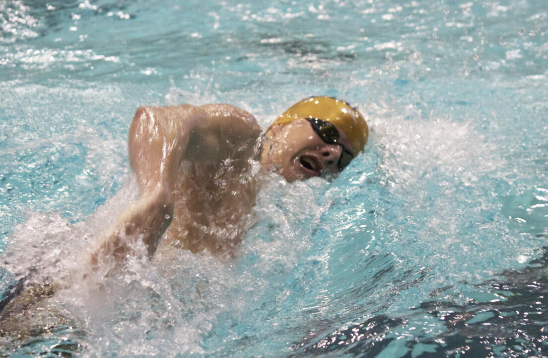 Sophomore Michael Hudspith was a double winner in the 100 freestyle and as a member of the victorious 800 freestyle relay on Saturday at the Shamrock Invitational