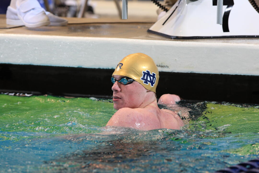 Frank Dyer became the first men's swimming All-American in Notre Dame history with a fourth place finish at the 2012 NCAA Championships