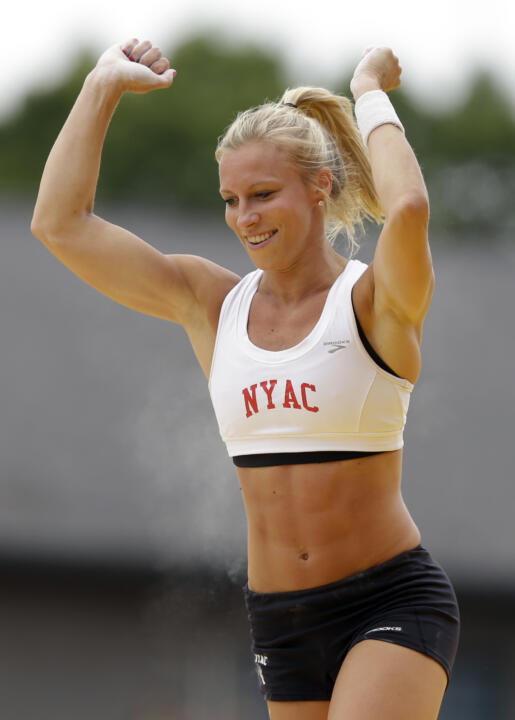 Mary Saxer - who competed collegiately at Notre Dame - reacts after a vault in the women's pole vault at the U.S. Olympic Track and Field Trials Sunday, June 24, 2012, in Eugene, Ore. (AP Photo/Charlie Riedel)