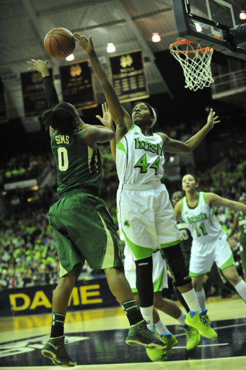 Ariel Braker blocks a shot by Baylor's Odyssey Sims in last season's matchup.
