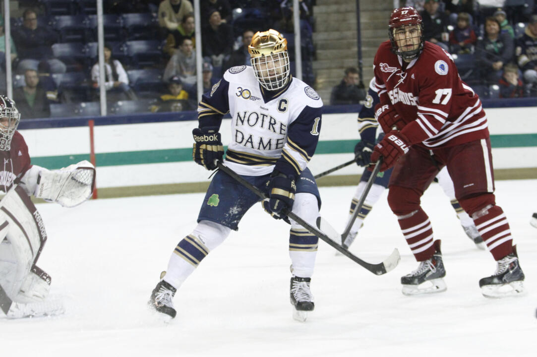 Irish captain Jeff Costello makes his third appearance in the NCAA Tournament on Saturday night versus St. Cloud State.