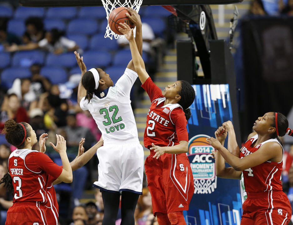 Jewell Loyd scored a game-high 16 points for Notre Dame, as the #2 Irish defeated #14/17 North Carolina State, 83-48 on Saturday at the ACC semifinals in Greensboro, N.C.