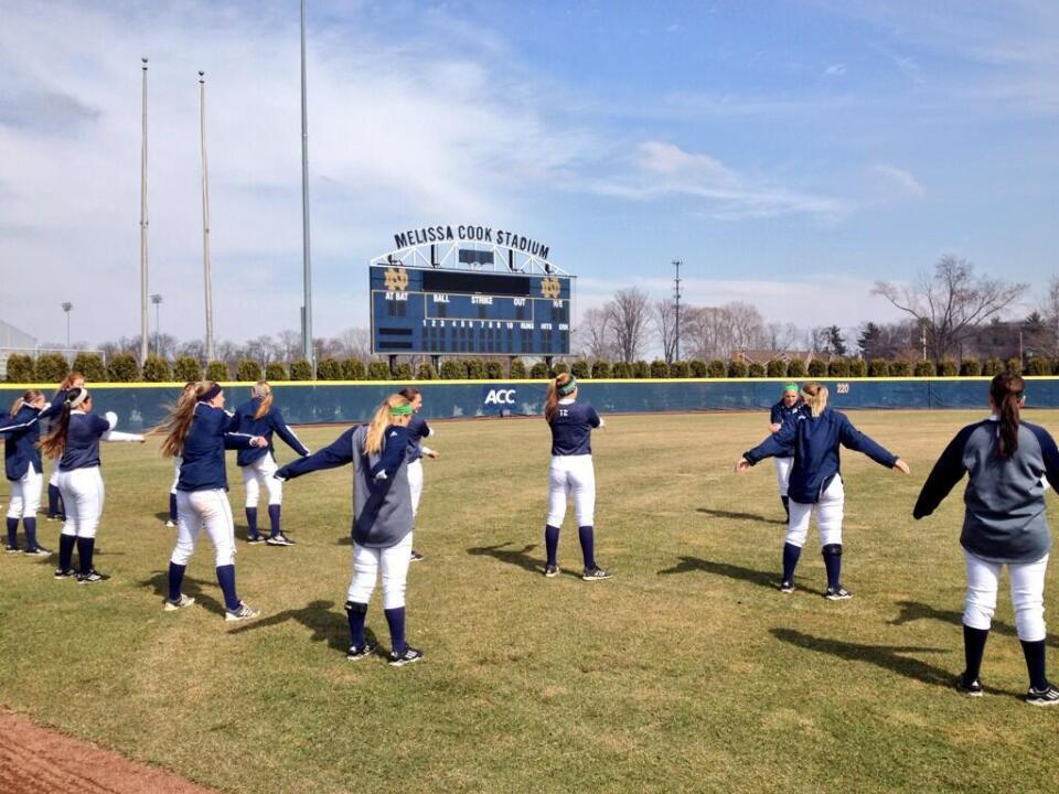 The Notre Dame softball team held its first home outdoor practice of the season on Tuesday afternoon at Melissa Cook Stadium