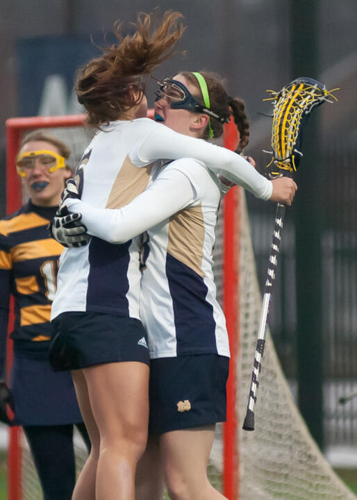 Rachel Sexton helps Caitlin Gargan celebrate one of her two goals against Marquette.