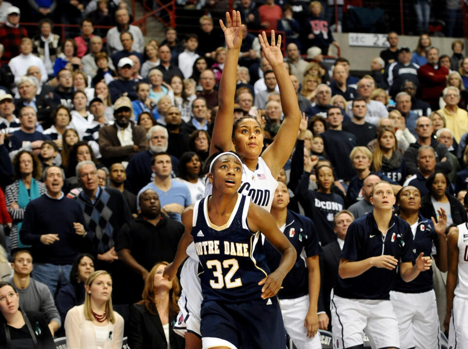 Jewell Loyd and UConn's Kaleena Mosqueda-Lewis in one of Notre Dame's road wins over the Huskies last season.