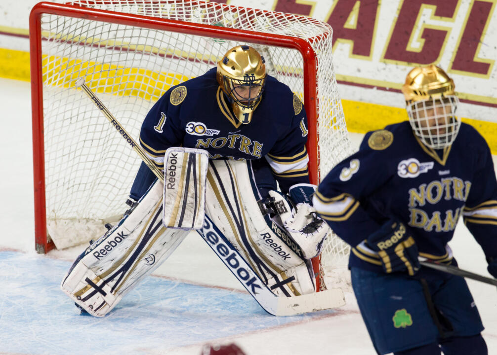 Senior goaltender Steven Summerhays was the Notre Dame Monogram Club's team most valuable player for the 2013=14 hockey season.