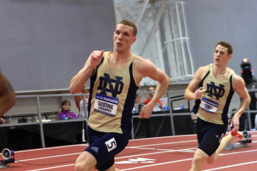 Giesting earned All-America honors during the NCAA Championships on March 14-15, placing fifth in the 400 meters and helping the Notre Dame 4x400 relay team to an eighth-place finish.