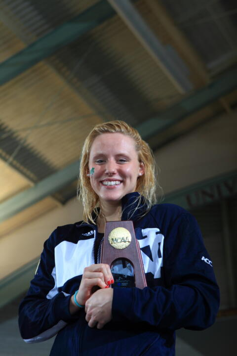 Junior Emma Reaney with her national championship trophy after winning the 200-yard breaststroke at the 2014 NCAA Championships.
