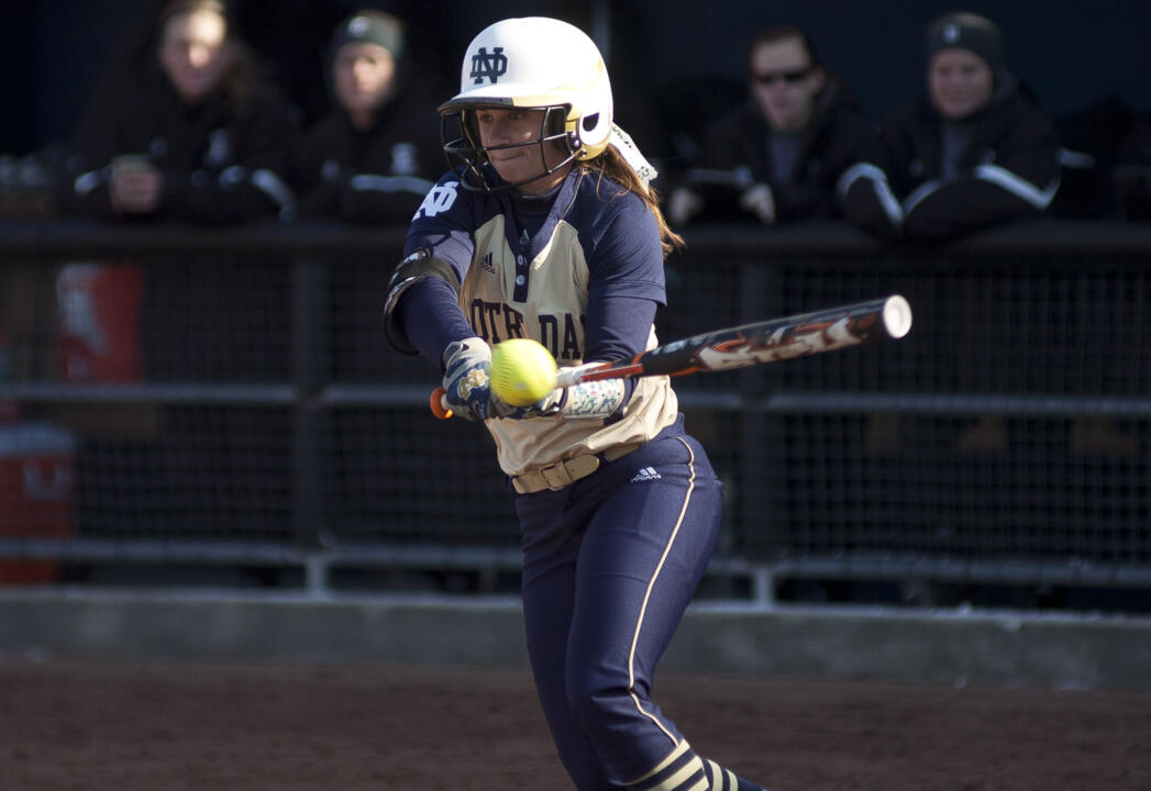 Notre Dame's leading hitter as a southpaw at the plate, junior Jenna Simon is naturally right-handed, and learned to slap hit when she was 11