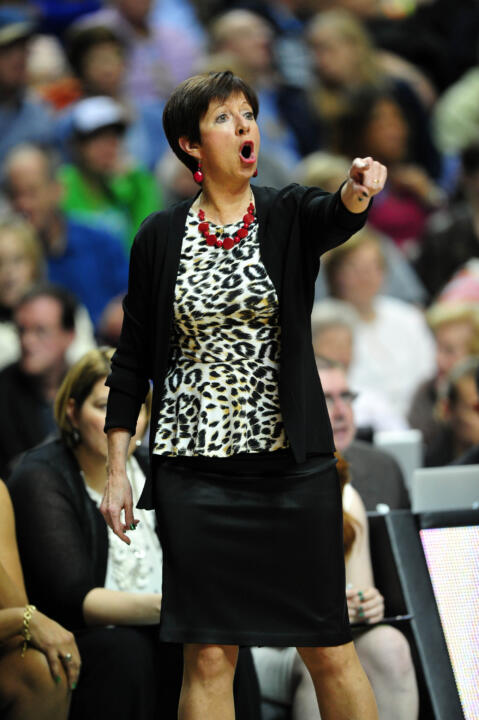 Head Coach Muffet McGraw searched for answers to the Huskies' tenacious offense throughout the game.