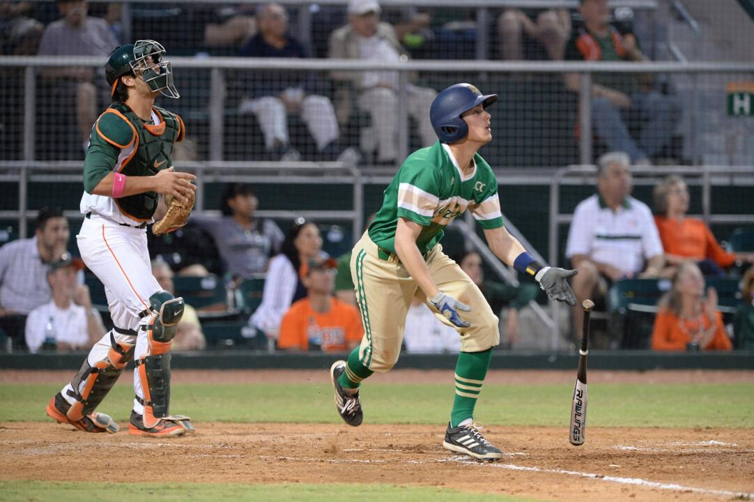 Freshman Cavan Biggio hit his team-leading seventh sac fly in Monday night's 6-3 loss at #11 Miami.