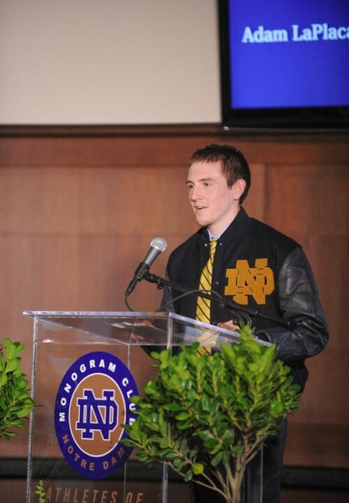 Senior men's soccer goalie Adam LaPlaca reflected on what it means to earn a Monogram.
