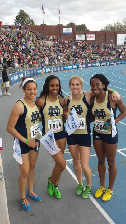 The 4x200m relay team of Kaila Barber, Aijah Urssery, Michelle Brown and Margaret Bamgbose.