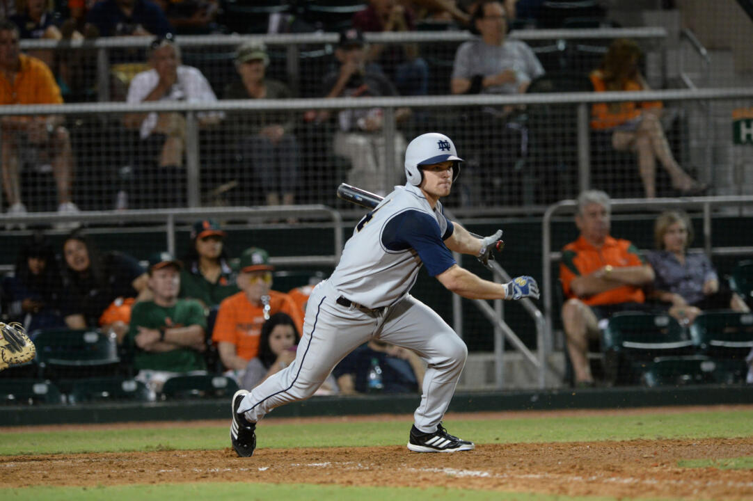 Sophomore Kyle Richardson had a big RBI triple in the third inning to help the Irish to a 2-1 win over No. 22 Clemson Friday night.
