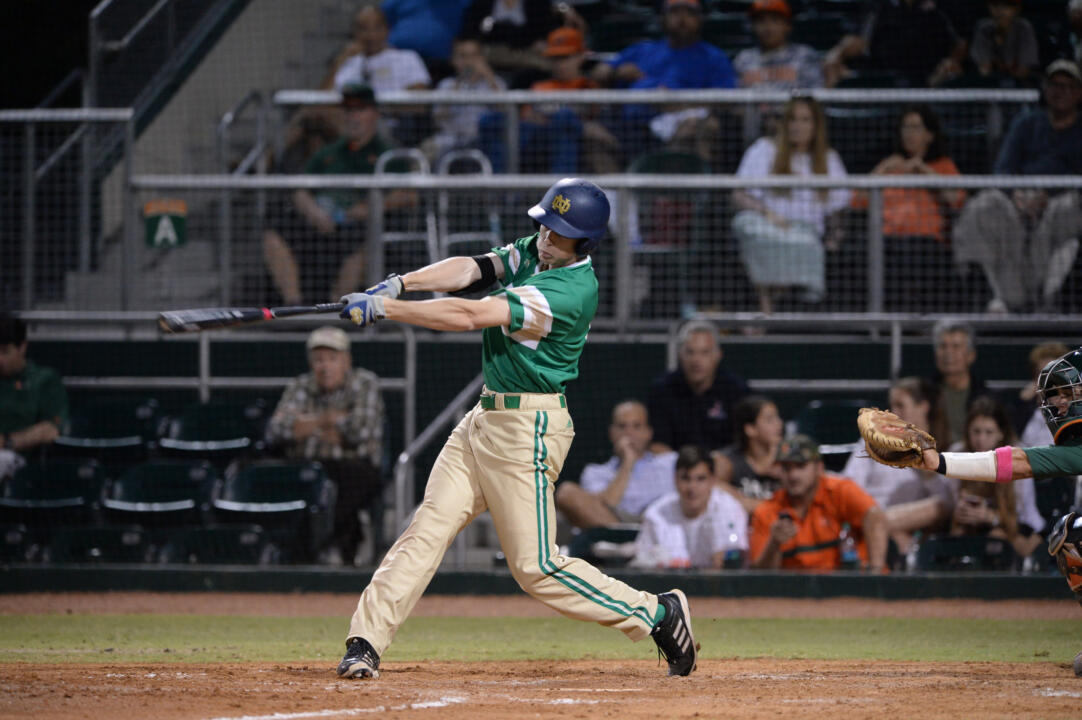 Junior Robert Youngdahl is coming off a 4-for-5 day Sunday afternoon as he had two doubles, a homer, three RBI and two runs scored in helping the Irish to an 11-3 win over then-No. 22 Clemson.