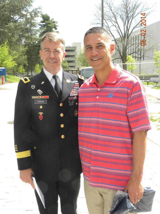 Irish head coach Mik Aoki and 1987 Notre Dame alum and current brigadier general Bryan P. Fenton