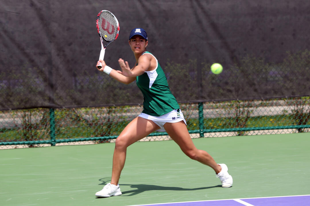 Senior Britney Sanders clinched the match for Notre Dame with a 6-3, 6-3 victory over Patricia Fargas at No. 1.