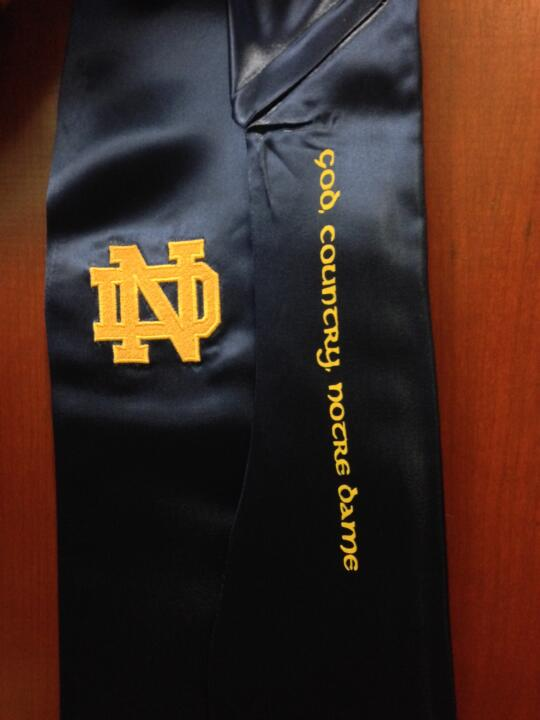 Notre Dame student-athletes will have the opportunity to wear uniquely designed graduation stoles for the first time.