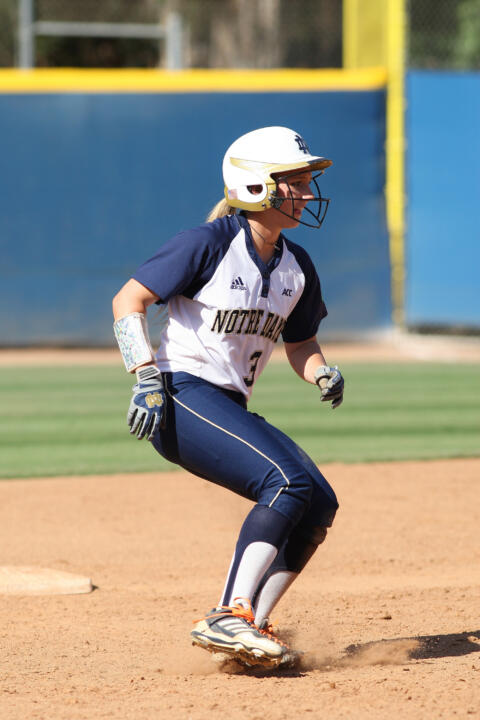 Junior All-American Emilee Koerner set a Notre Dame NCAA Championship record with five RBI on Saturday against Long Beach State
