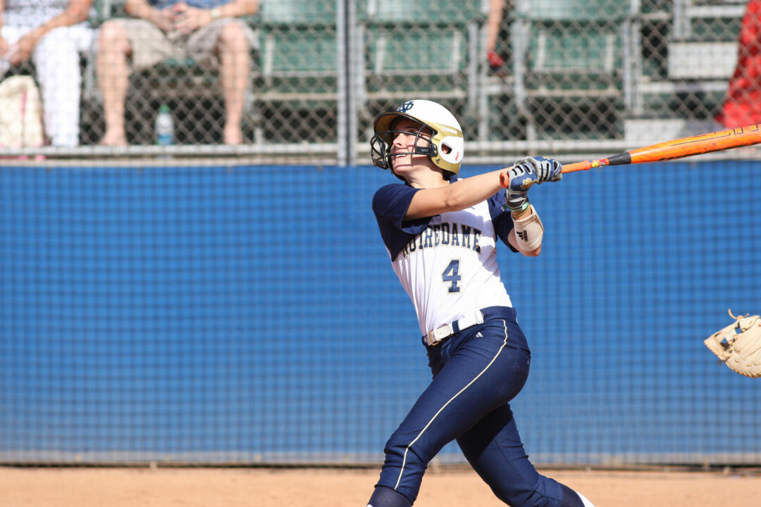 Senior Lauren Stuhr blasted a crucial RBI double and solo home run to power the Notre Dame attack in a 8-0 win over Long Beach State on Friday in the first game of the NCAA Los Angeles Regional