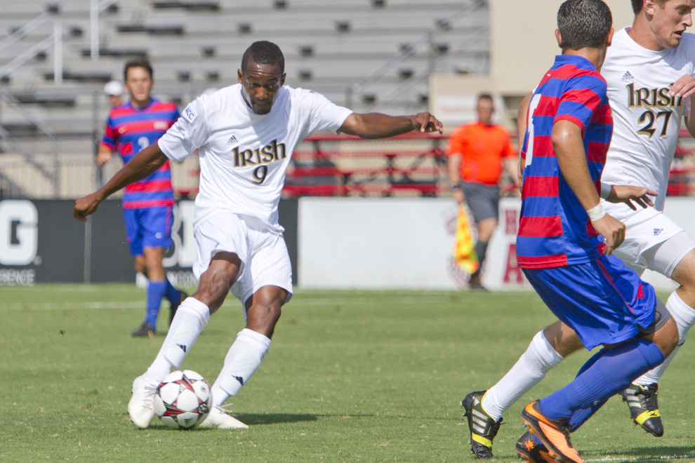 Leon Brown scored twice in the 2-1 win over SMU that clinched last season's IU Classic title for the Irish.