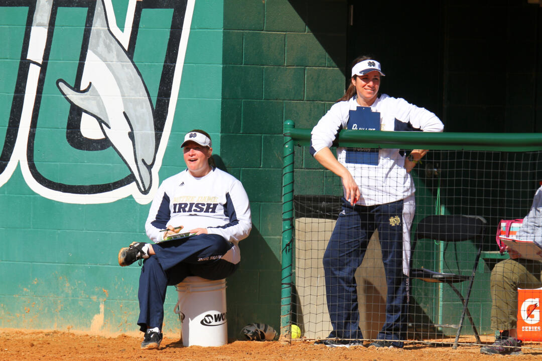 Notre Dame associate coaches Kris Ganeff and Lizzy Lemire will again provide lead instruction at the Irish Softball Hitting Academy