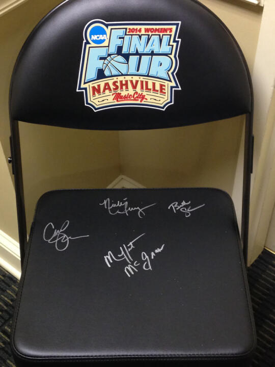 This team bench chair from the 2014 NCAA Women's Final Four in Nashville, autographed by the Notre Dame women's basketball coaching staff, is among the items that will be up for bid during Sunday's auction as part of the Katie Schwab Fundraiser at the Linebacker Lounge in South Bend.