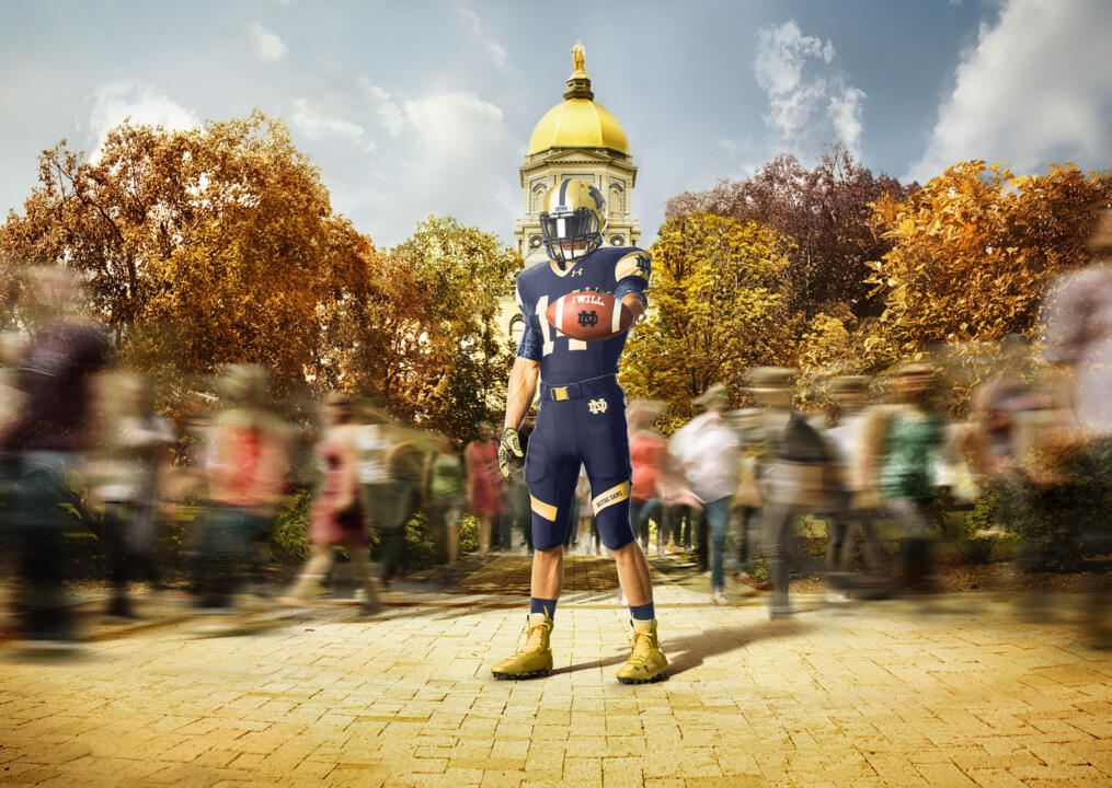 The much-anticipated Shamrock Series uniform was among the three versions of the 2014 Notre Dame football uniform unveiled Tuesday by the University and its official apparel provider, Under Armour.