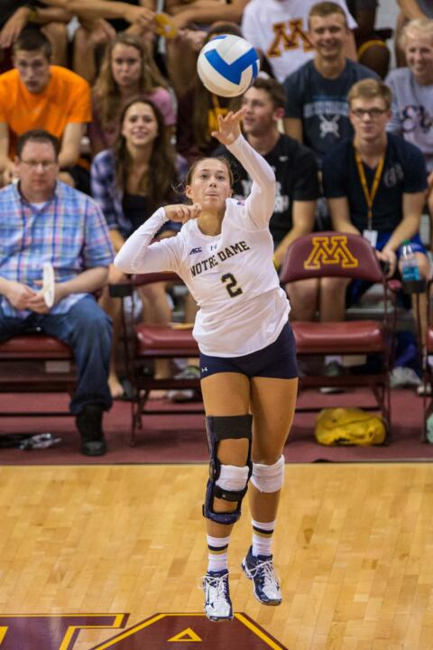Freshman libero Natalie Johnson had a service ace and seven digs in her first collegiate match.