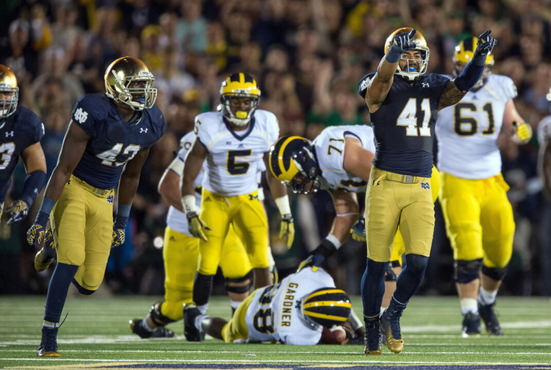 Notre Dame snapped Michigan's NCAA record streak of 365 games without being shut out in a 31-0 victory last week. The Wolverines had not been previously shut out since Oct. 20, 1984.