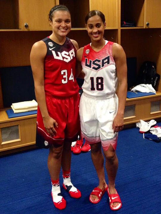 Former Notre Dame All-America guards Kayla McBride (left) and Skylar Diggins (right) suited up for the 2014 USA Basketball Senior National Team Showcase Game Thursday night in Newark, Del.