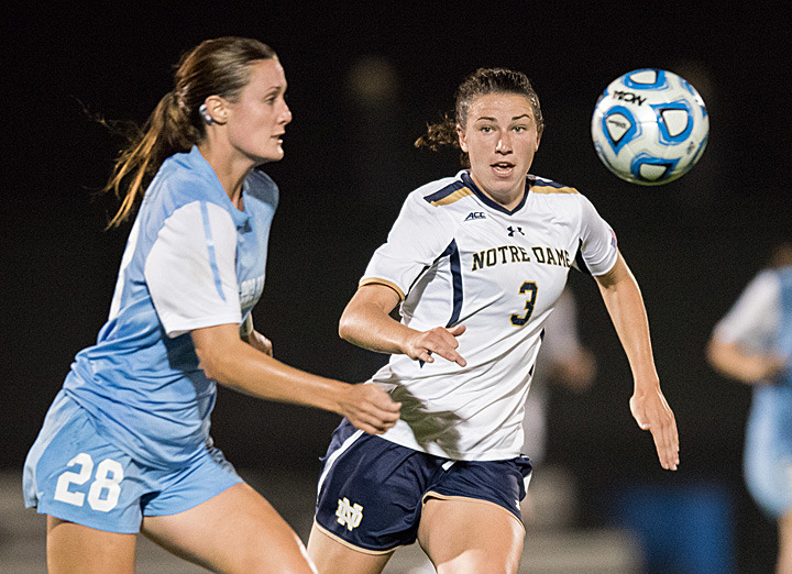 Sophomore midfielder Morgan Andrews collected a goal and an assist to help #18/12 Notre Dame to a 2-0 lead, but #9/8 North Carolina rallied to earn a 3-2 double-overtime victory on Saturday night at Alumni Stadium.