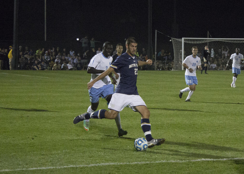 Freshman forward Jeffrey Farina put Notre Dame on top in the 37th minute with the first goal of his career.